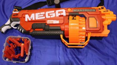 Nerf Mega Mastodon gun with a box of projectiles. Not available for in-house P&P, contact Paul O'Hea