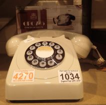 Ivory, GPO746 Retro push button telephone replica of the 1970s classic, compatible with modern
