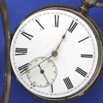 Gents fine silver pocket watch, key wind, open face, with seconds dial, D: 50 mm with key, working