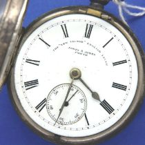 Hallmarked silver open face, key wind pocket watch, dial marked The New Victor, English lever, Jones