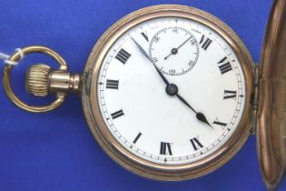 Gold plated full hunter crown wind pocket watch movement marked Admiral, working at lotting, D: 50