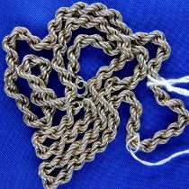 Sterling silver rope neck chain, stamped 925, L: 45 cm, 10g. P&P Group 1 (£14+VAT for the first