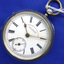 Hallmarked silver open face, key wind pocket watch, The Express English Lever, pocket watch dial and