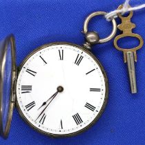 Hallmarked silver antique ladies open face, key wind fob watch, dial D: 35 mm, with key, working