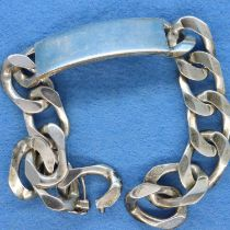 Heavy 925 silver ID bracelet, L: 21 cm. P&P Group 1 (£14+VAT for the first lot and £1+VAT for
