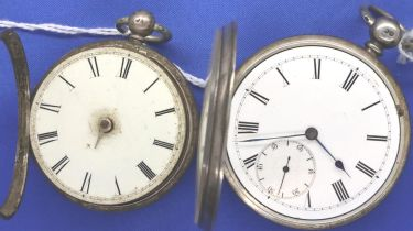 Two hallmarked silver gents open face key ind pocket watches. P&P Group 1 (£14+VAT for the first lot