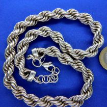 Sterling 925 silver heavy neck chain, L: 40 cm, 90g. P&P Group 1 (£14+VAT for the first lot and £1+