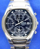 Lorus; 100m chronograph stainless steel wristwatch, working at lotting. P&P Group 1 (£14+VAT for the