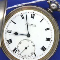 Imported 925 silver cased open face, key wind pocket watch, twelve jewel movement dial and