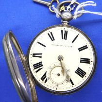 Hallmarked silver open face, key wind pocket watch fusee movement (chain intact) marked G. Asher 158