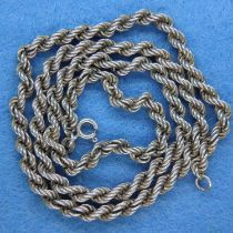 925 silver rope necklace, L: 49 cm. P&P Group 1 (£14+VAT for the first lot and £1+VAT for subsequent