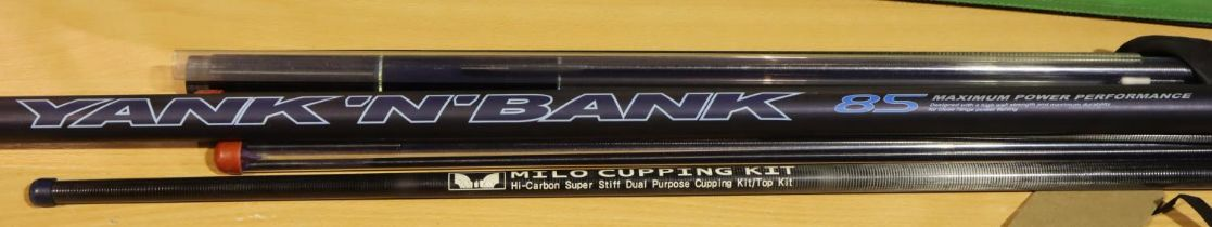 Daiwa Yank & Bank pole with spares and two tops. P&P Group 3 (£25+VAT for the first lot and £5+VAT