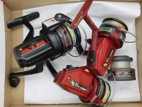 Two Trident and one Daiwa fixed spool fishing reels. P&P Group 2 (£18+VAT for the first lot and £3+