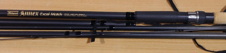 Shakespeare Annex five section match rod, 5.4 metres. P&P Group 3 (£25+VAT for the first lot and £