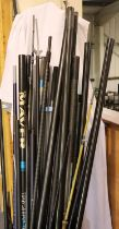 Bin of part poles and fishing rods. Not available for in-house P&P, contact Paul O'Hea at