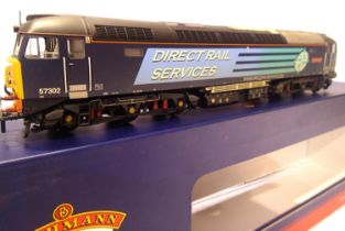 Bachmann 32-763A, Class 57 Chad Varah, 57302, D.R.S. Compass Blue Livery, weathered, in very near