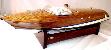 Wooden Riva Riviera 80 type boat, L: 80 cm, fitted radio control requires battery and transmitter,