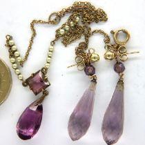 Edwardian amethyst pendant on a fine pearl set chain with similar amethyst drop earrings. P&P