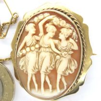 9ct gold bound cameo brooch, displaying the Three Graces, overall 35 x 30mm, 7.7g. P&P Group 1 (£
