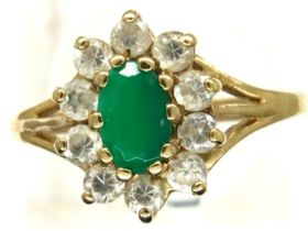 9ct gold emerald and white stone set ring, size O, 1.8g. P&P Group 1 (£14+VAT for the first lot