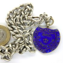 Hallmarked silver watch chain and enamelled fob, 45g, 38cm (inc. fob). P&P Group 1 (£14+VAT for
