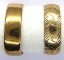 Two 9ct gold band rings, size T, one misshapen, combined 6.1g. P&P Group 1 (£14+VAT for the first