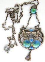 Charles Horner enamelled pendant and chain, Chester assay, L: 40 cm, loss of enamel to lower