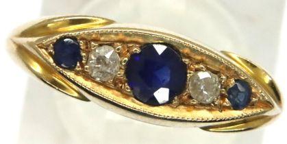 Victorian 18ct gold sapphire and diamond set ring, size M, 4.8g, Birmingham assay, 1864. P&P Group 1