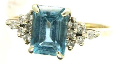 9ct gold aquamarine and diamond set cocktail ring, size J/K, 1.9g. P&P Group 1 (£14+VAT for the