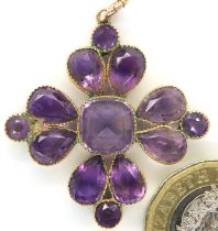 Edwardian yellow metal amethyst set pendant, H: 35 mm, 5.5g, boxed. P&P Group 1 (£14+VAT for the