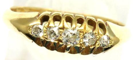 Victorian 18ct gold dress ring set with five graduated diamonds, size L/M, 2.8g, Birmingham assay