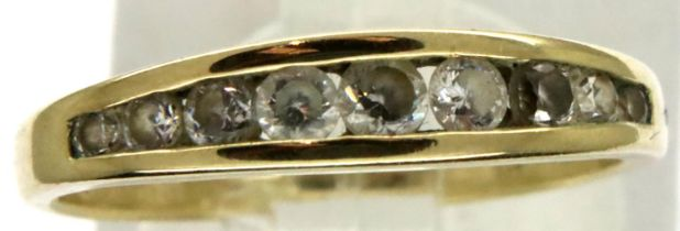 9ct gold nine stone set ring, size L, 1.6g. P&P Group 1 (£14+VAT for the first lot and £1+VAT for