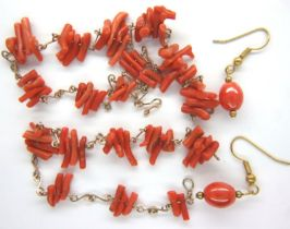 Coral necklace and earrings set with yellow metal mount necklace L: 42 cm, earring L: 32 mm. P&P