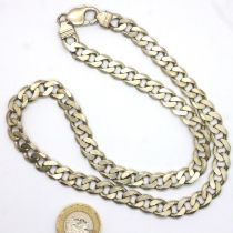 Heavy gauge 925 silver flat chain necklace, L: 50 cm, 66g. P&P Group 1 (£14+VAT for the first lot