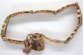 9ct rose gold bracelet, with padlock clasp, L: 13 cm. 8.7g. P&P Group 1 (£14+VAT for the first lot