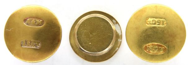 Boxed part set of Edwardian 15ct gold studs, combined 3.9g. P&P Group 1 (£14+VAT for the first lot