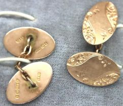 Pair of 9ct gold cufflinks, combined 5.9g. P&P Group 1 (£14+VAT for the first lot and £1+VAT for