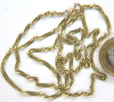 Fine 9ct gold chain, L: 50 cm, 4.3g. P&P Group 1 (£14+VAT for the first lot and £1+VAT for