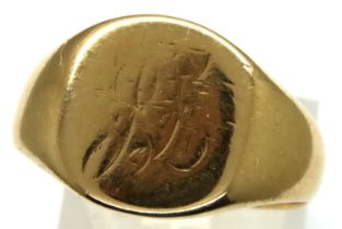 18ct gold signet ring, size S, 8.2g, Chester assay, 1916. P&P Group 1 (£14+VAT for the first lot and