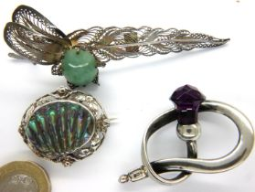 Three silver stone set brooches, including abalone and jade set, combined 23g. P&P Group 1 (£14+