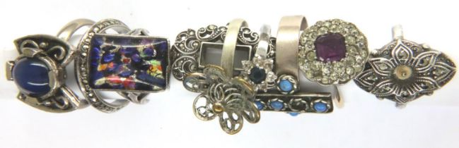 Eight mixed silver and white metal rings, mostly stone set. P&P Group 1 (£14+VAT for the first lot