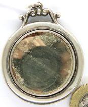 Hallmarked silver and guilloche enamel small pendant mirror, D: 45 mm, Birmingham assay, 1920,