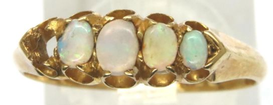 18ct gold opal set ring, missing one stone, size P/Q, 2.6g. P&P Group 1 (£14+VAT for the first lot