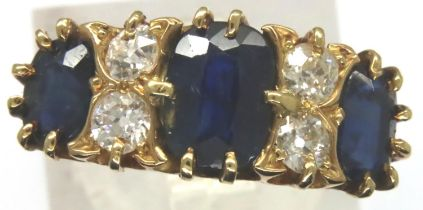 Substantial 18ct gold sapphire and diamond set ring, Chester assay, 1911, size K/L, 4.0g. Shank
