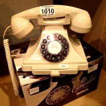 Ivory, GPO Carrington, push button telephone in 1920s styling with pull-out pad tray; compatible