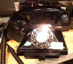 Black, GPO Carrington, push button telephone in 1920s styling with pull-out pad tray; compatible