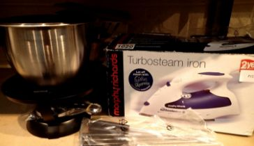 Morphy Richards Turbosteam iron and a Marks & Spencer fondue set. Not available for in-house P&P,