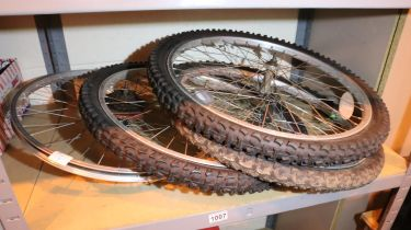 Four bike wheels; three front and one back. Not available for in-house P&P, contact Paul O'Hea at