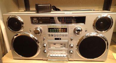 Silver, GPO Brooklyn large 1980s-Style Boombox - CD, cassette, DAB+ & FM Radio, USB,