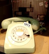 Mint green, GPO746 Retro rotary telephone replica of the 1970s classic, compatible with modern